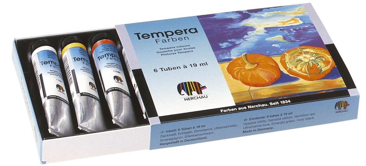 Nerchau Tempera (Gouache) 19 ml Tube 6er-Set