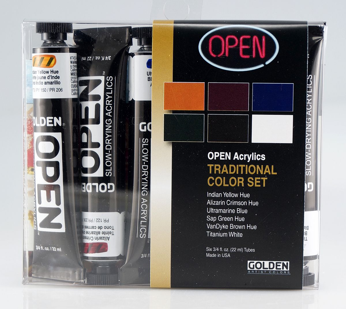 Golden OPEN Acryl-Set 6 x 22ml traditionell
