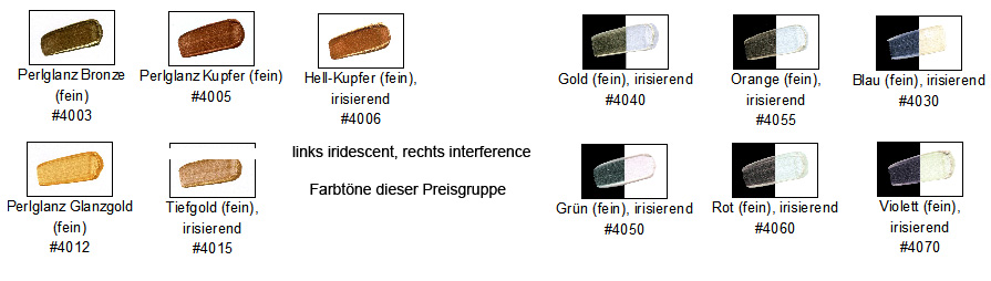 Golden Heavy Body Iridescent und Interferenz Farbkarte PG 7
