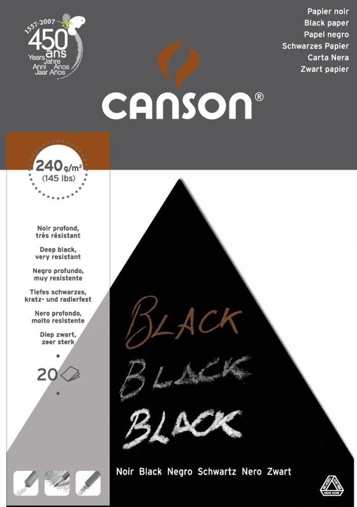 Canson Black Pop Color Block 20 Blatt A3 240g/m²