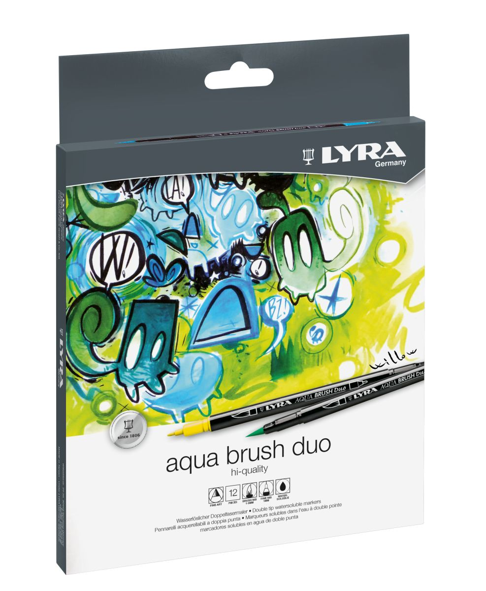Lyra Aqua-Brush Duo Doppelspitze 12-er Set
