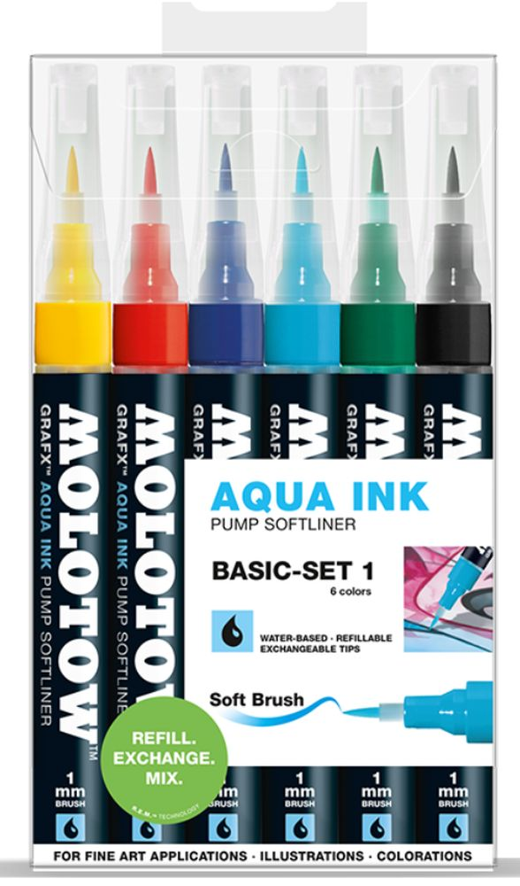 Molotow Aquarell Softliner 1 mm 6-er Set