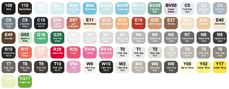 Copic 72er-Set B Farben